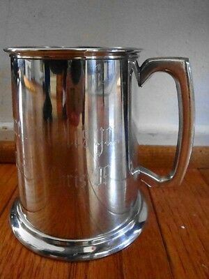 """English Pewter Sheffield Beer Stein/ Tankard Glass Bottom -""""Cure What Ales You"""""""
