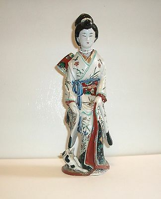 Antique 19th Century Japanese Porcelain Geisha with Cat