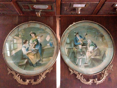 Antique Pair Stove Covers, Hand Painted Man & Women, Guitar Romance | Ornate