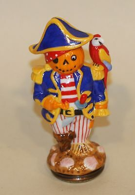 Halcyon Days Trinket Box Scarecrows Pirate w/ Parrot on Shoulder Scare Seagulls
