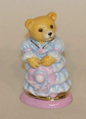 2007 Halcyon Days Teddy Bear of the Year Figurine Blue Dress Pink Bonnet