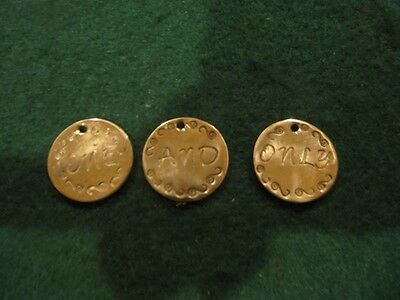 Lot Of 3 Handmade Indian Head Cent Love Tokens '' One And Only''