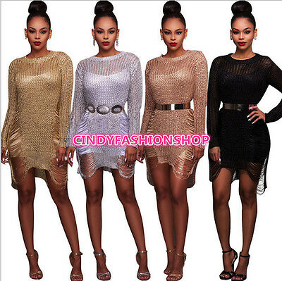 Summer Women Bandage Body con Long Sleeve Club Beach Party Cocktail Mini Dress