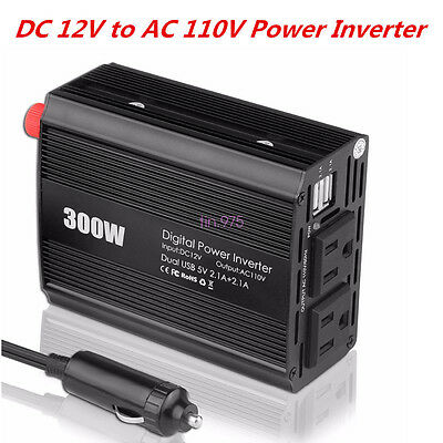 Car Power Inverter Converter 12V DC Battery to 110V AC 300W Socket Adapter+2 USB