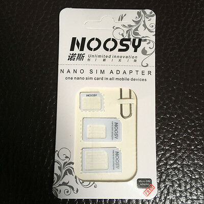 10X Noosy Nano SIM Card Adapter 4 in 1 micro sim Eject Pin Key for iPhone 7 6s 5