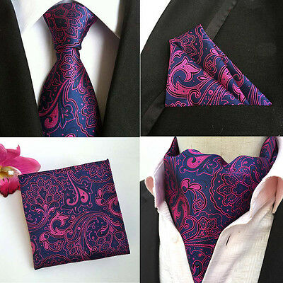 Men Purple Pink Paisley Floral Silk Necktie Cravat Ascot Pocket Square Set Lot