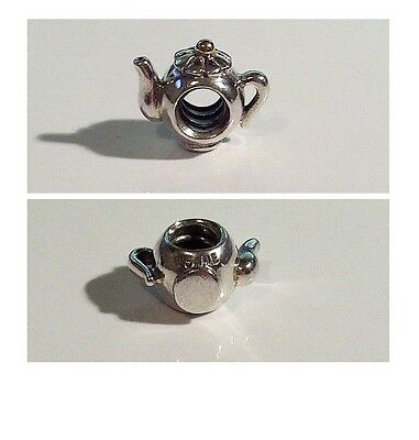 Retired Pandora Sterling Silver & 14K Yellow Gold TEAPOT Charm - 790250 - AS NEW