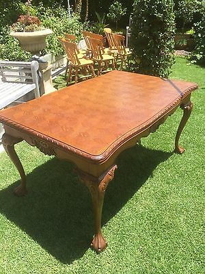 """FRENCH ANTIQUE OAK EXTENSION DINING TABLE in """"CHIPPENDALE STYLE LEGS & SKIRT"""""""