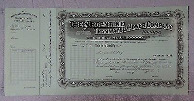 ARGENTINA Tramways & Power C° specimen Bradbury 1922 share utilities railroad