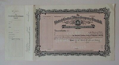 British Central Africa C° share 1918 Bradbury Specimen coat of arms railroad GB