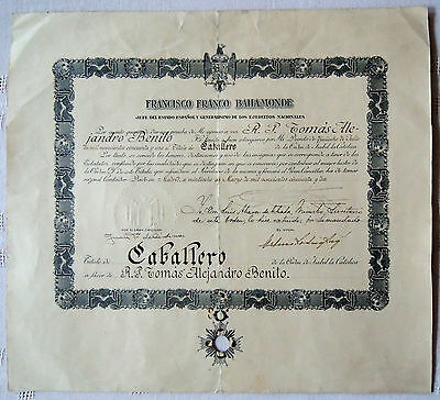 SPAIN Francisco Franco autograph mark diploma document appointing Caballero 1952