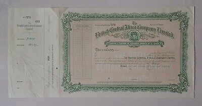 British Central Africa C° share 1937 Bradbury Specimen coat of arms railroad GB