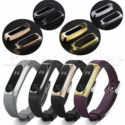 Silicone Luxury Watch Band Strap+Stainless Steel Case Cover for Xiaomi Mi Band 2