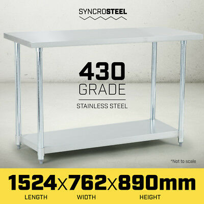 1524 x 762 STAINLESS STEEL 430 COMMERCIAL WORKBENCH BENCH TABLE