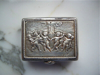 VINTAGE Italian Florence FIRENZE embossed 800 SILVER putti cherubs pill BOX