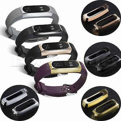 Luxury Silicone Watch Band Strap+Stainless Steel Case Cover for Xiaomi Mi Band 2