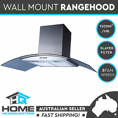 New Commercial Alfresco BBQ Rangehood Kitchen 90cm Canopy Glass Range Hood 900mm