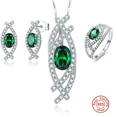 AAA Emerald & White Topaz Ring+Necklace+Earring 925 Sterling Silver Jewelry Sets