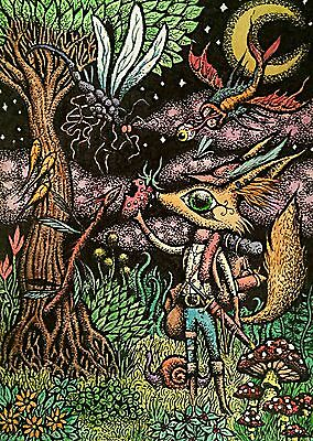 Art Print Fantasy 5x7 Inches Ink and Watercolor