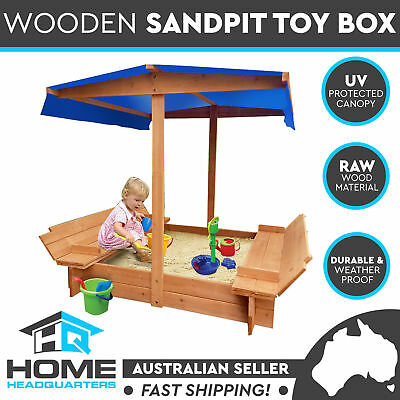 Deluxe Wooden Toy Box Sandpit With Canopy Covered Outdoor Bench Play Seat Kids