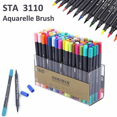 24 36 48 80Color Set STA  Brush Watercolor Marker Pen Graphic Twin Tip+ Glove AU