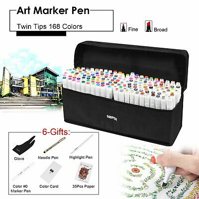 168 General Color Marker Pen Touch New Graphic Art Five Sketch Twin Tips+ Glove