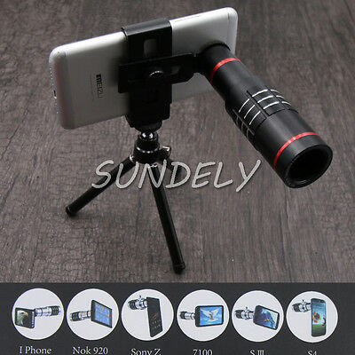 Black 18X Zoom Phone Telescope Telephoto Camera Lens/Tripod For IPhone Android--