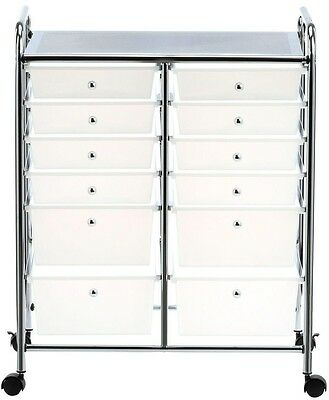 Rolling Cart Craft Storage 12-Drawer Sturdy Chrome Frame Locking Caster Wheels