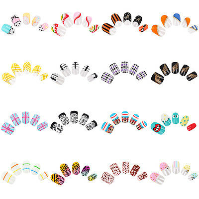 24pcs False Full Cover French Cartoon Pre-Designed Pro Airbrush Nail Art Tips