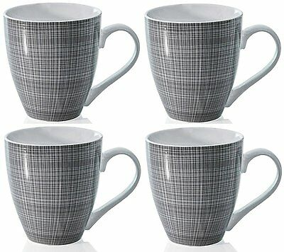 Sketch Set of 4 Mugs Porcelain Extra Large Coffee Soup Hot Cocoa Mugs Grey