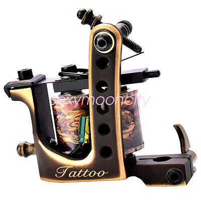 Brass Frame Coil Tattoo Machines 10 Wrap Coils Handmade Tattoo Guns