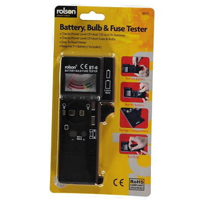 Rolson Battery, Bulb And Fuse Tester Easy To Read Meter