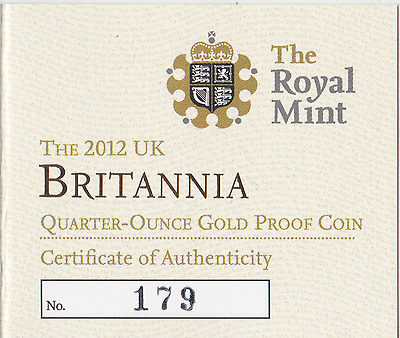 The Royal Mint 2012 Gold Proof Sovereign Coin Certificate of Authenticity COA