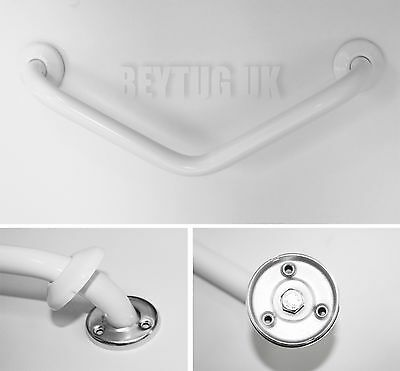 135° White Angled Shower Bath Grab Bar Rail Bathroom Support 200 x 200 mm, Ø 25