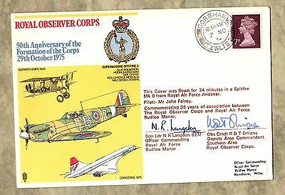 50th Anniversary ROYAL OBSERVATION CORPS ~ R.A.F. CORSHAM Two Signatures ~ 1975