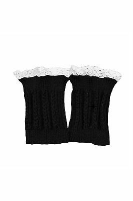 Women's Lace Trim Leg Warmers Short Cuffs Black T2M6