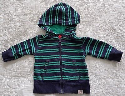 Baby Boys Sprout Zip Hoodie, Green and Navy Blue Stripes, Size 0