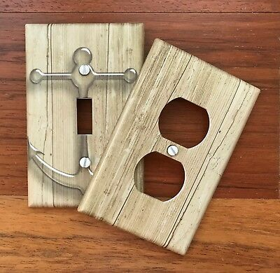Rustic Anchor Nautical Light Switch Plate Cover Brown Wood Plank Decor