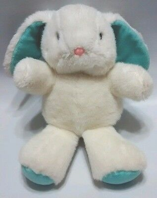 "1987 World Of Smile Bunny Rabbit White Blue Plush Stuffed Easter Toy 13"" Korea"
