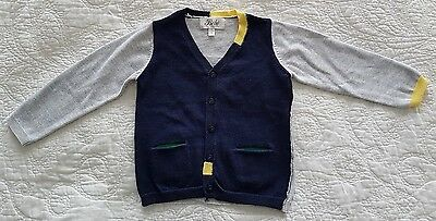 Bebe by Minihaha, Baby boys knitted cardigan, Navy, grey, yellow, green, Size 1