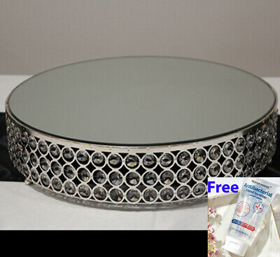 """Silver Cake Stand Round Mirrored Top 16""""-40cm"""