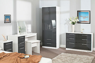 Luxury Full Size White Ash Bedroom Furniture w High Gloss Grey Doors / Drawers