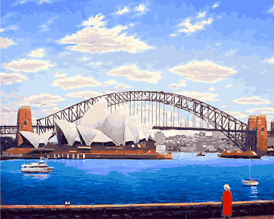 Paint By Numbers Kit Canvas 50*40cm A015 Sydney Harbour Bridge and Opera House