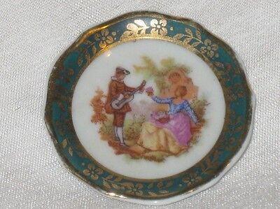 Limoges France Porcelain Miniature plate and stand Courting Couple Green Border