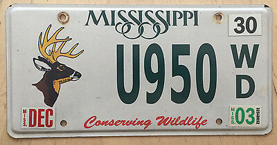 """Mississippi Conserving Wildlife License Plate  """" U950Wd """" Ms Whitetail Deer Buck"""