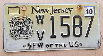 "New Jersey Vfw Of The U S Veterans Of Foreign Wars  License Plate "" Wv 1587"" Nj"