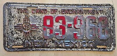 "1946 New Mexico Passenger License Plate "" 83 968 "" Nm 46 Original Condition"