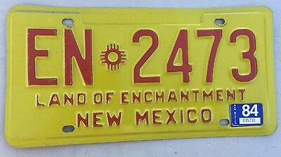 "1984 New Mexico Truck License Plate  "" En 2473 "" Nm 84 Land Of Enchantment"