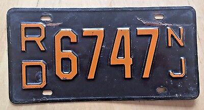 "1959 1960 New Jersey Passenger  Auto  License Plate "" Rd 6747 "" Nj 60"