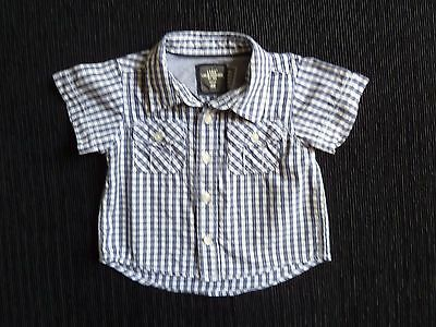 Baby clothes BOY 0-3m H&M (2-4m) navy blue/white short sleeve check shirt cotton